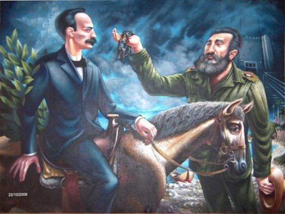 Representa la continuidad histórica de la Revolución desde nuestro Héroe Nacional José Martí hasta el Comandante en Jefe. Autor: Carmelo González. / Fecha: 1982