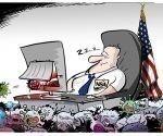 ¡Durmiendo en los laureles! Una filtración arruina la moral de la NSA. Caricatura: Sputnik.