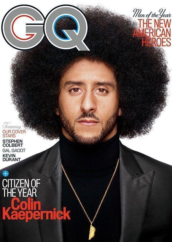 """Colin Kaepernick, portada y """"hombre del año"""" según la revista GQ. Foto: GQ."""