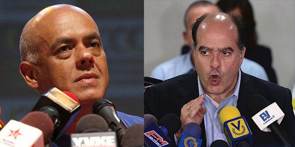 El ministro de Comunicación e Información en Venezuela, Jorge Rodríguez y el presidente de la Asamblea Nacional, Julio Borges. Imagen: Cubadebate.