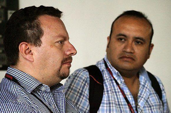 Andrés Cañizares (izq.) y Marco Marín (der.), ecuatorianos participantes en ICOM-2017. Foto: Yadiana S. Gibert/ Cubadebate.