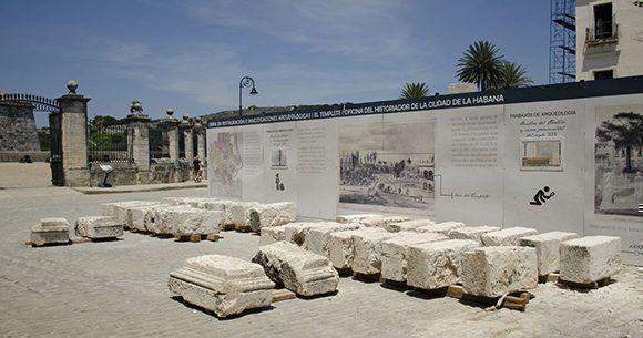 Resultados de las intervenciones arqueológicas en el área de El Templete. Foto: Alexis Rodríguez/ Habana Radio.