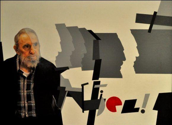 Pintura en acrílico, impresión digital y tela en homenaje al líder histórico de la Revolución, en su 87 cumpleaños. Autor: Pedro de Oraá y Alex Castro. / Fecha: 13/08/2013