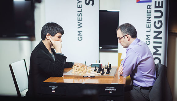 So vs. Dominguez, hoy en un atípico Champions Showdown de ajedrez. Foto: U.S. Chess Champs.