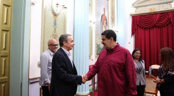 Maduro recibe a Zapatero en Miraflores. Foto: AVN.