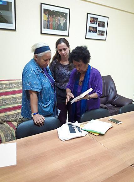 Marta Rojas y Ana Cairo conversan en Cubadebate sobre la sicología política de Fidel. Foto: Yosvanis Rodríguez Díaz/ Cubadebate.