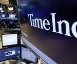 Logo del grupo editor TIME Inc. en el parquée de Wall Street. Foto: AP.
