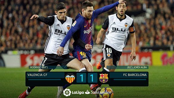 Luego del empate, el FC Barcelona acumula 25 puntos y el Valencia 31. Foto: @LaLiga/ Twitter.
