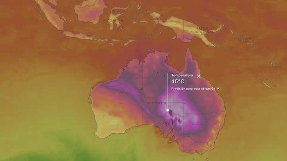 Muy altas temperaturas se registran por estos días en amplias zonas de Australia. Mapa de Windy, 18 de diciembre.
