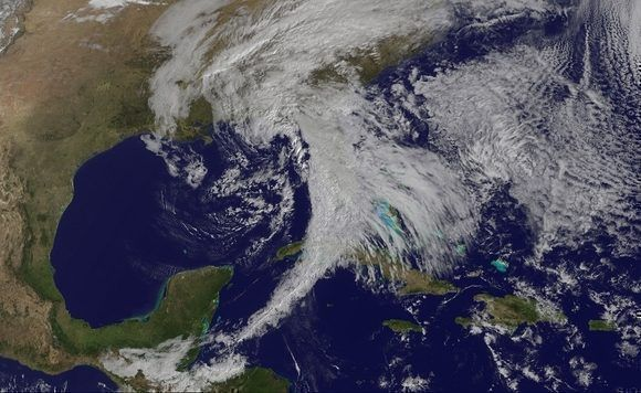 Frente frío sobre el occidente de Cuba. Imagen del satélite GOES-13, 22 de febrero.