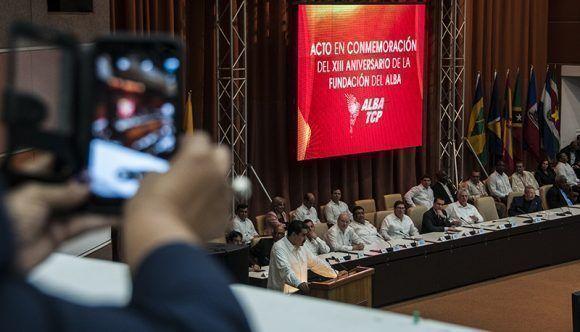 El acto por el 13 aniversario de la fundación del ALBA se celebró en el Palacio de las Convenciones de La Habana. Foto: Cubadebate.