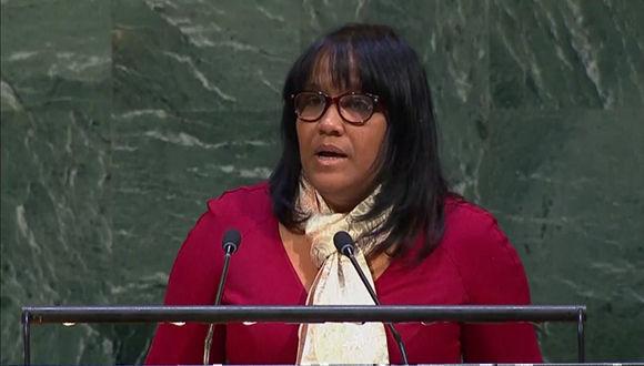 La Representante de Cuba en la ONU, Anayansi Rodríguez en el discurso de rechazo a la política de Trump en Jerusalén. Foto: @CubaMINREX/ Twitter.