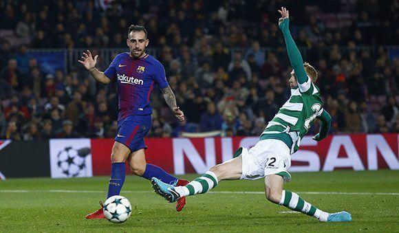 Paco Alcácer y Mathiu en propia puerta fueron los autores de los goles en la victoria del Barça sobre el Sporting. Foto: AP.
