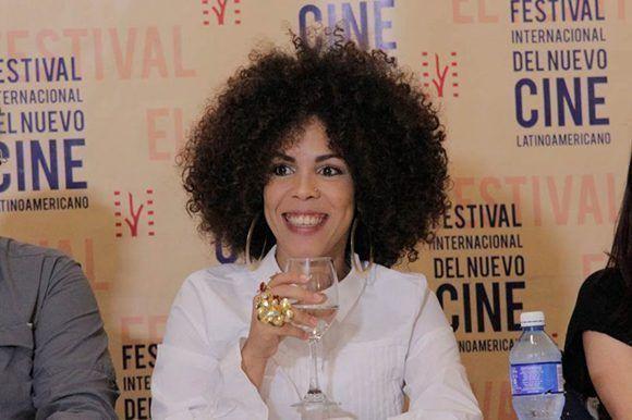 Yudith Rodríguez durante una conferencia de prensa en el Hotel Naciona, a propósito del Festival Internacional del Nuevo Cine Latinoamericano. Foto: Habana Film Festival.