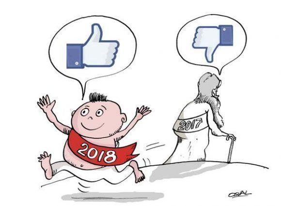 Caricatura con motivo de las celebraciones por el fin de año y el advenimiento del 2018. Cuba, 27 de diciembre de 2017. ACN CARICATURA/Osvaldo GUTIÉRREZ GÓMEZ/ogm