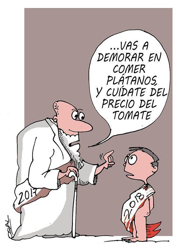 Caricatura con motivo de las celebraciones por el fin de año y el advenimiento del 2018. Cuba, 27 de diciembre de 2017. Autor: Osval.