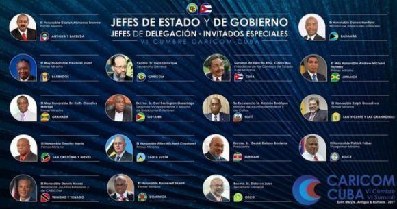 Mandatarios presentes en la VI Cumbre CARICOM-Cuba. Infografía: @Cubaminrex