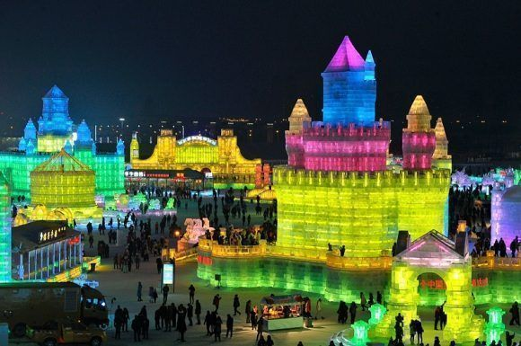 Festival de esculturas de hielo y nieve de Harbin. Foto: EPA