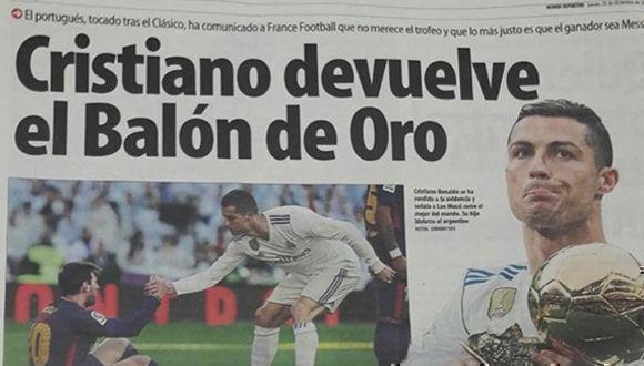 Titular del diario catalán Mundo Deportivo este jueves 28 de diciembre.