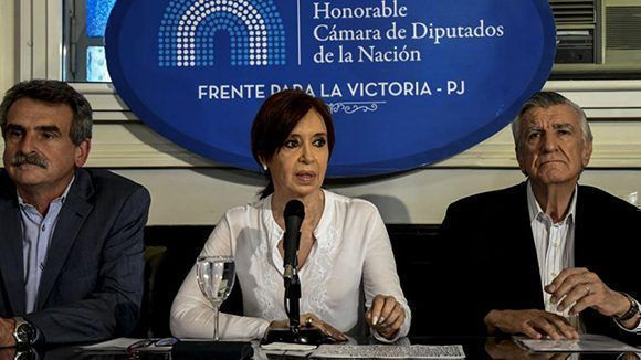 Cristina Fernández de Kirchner, en rueda de prensa en el Congreso argentino este jueves. Foto: Télam.