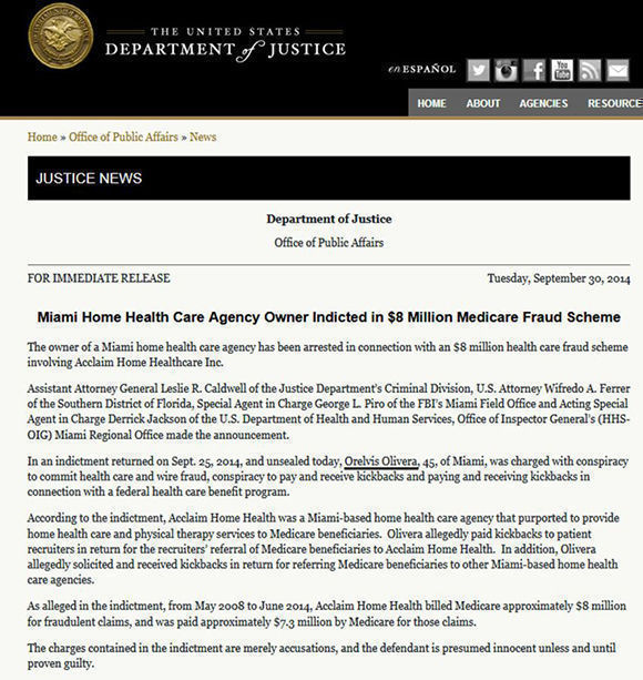 La página web del Departamento de Justicia de Estados Unidos dio cuenta de esta estafa al Medicare.