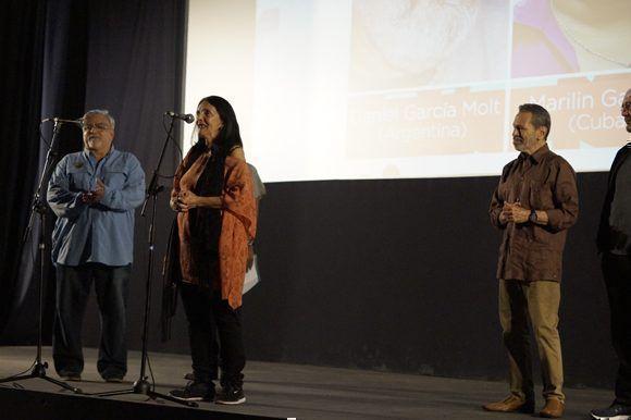"""Eslinda Núñez, una delas tres """"Lucía"""", durante la presentación de la película restaurada en el 39 Festival de Cine de La Habana en el el cine 23 y 12. Foto: José Raúl/ Cubadebate."""