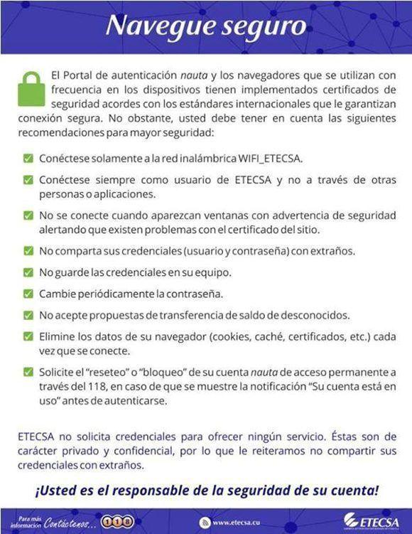 Consejos para navegar seguro en una red WiFi de Etecsa.