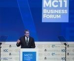 El director general de la Organización Mundial del Comercio (OMC), Roberto Azevedo, pronuncia un discurso durante el Foro Empresarial MC11 en el marco de la XI Conferencia Ministerial (11CM) de la Organización Mundial del Comercio (OMC), en Buenos Aires. Argentina. Foto: Martín Zabala/Xinhua