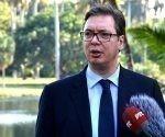 Aleksandar Vučić, Presidente de la República de Serbia, ofrece declaraciones a la prensa, en El Laguito, en La Habana, el 16 de diciembre de 2017. Foto: Marcelino Vázquez/ ACN.
