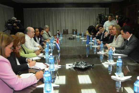 Mogherini sostuvo un encuentro con Rodrigo Malmierca. Foto: Prensa Latina.