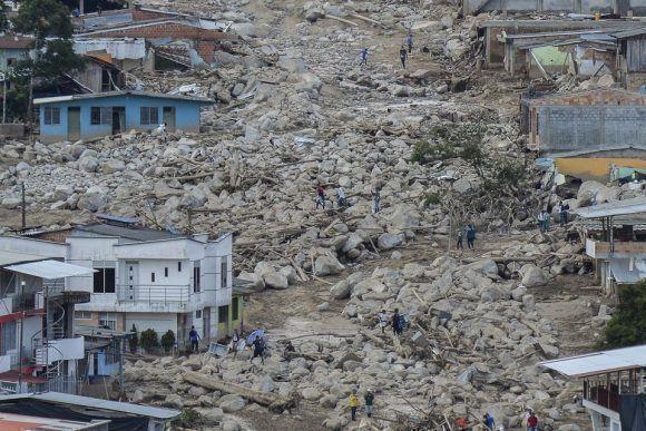 Las fuertes lluvias provocan desprendimientos que causan grandes daños en Mocoa (Colombia) el 3 de abril de 2017. Foto: Getty Images.