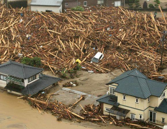 Vista aérea de la zona inundada de Asakura en Japón el 6 de julio de 2017. Vista aérea de la zona inundada de Asakura en Japón el 6 de julio de 2017. Foto: AFP.