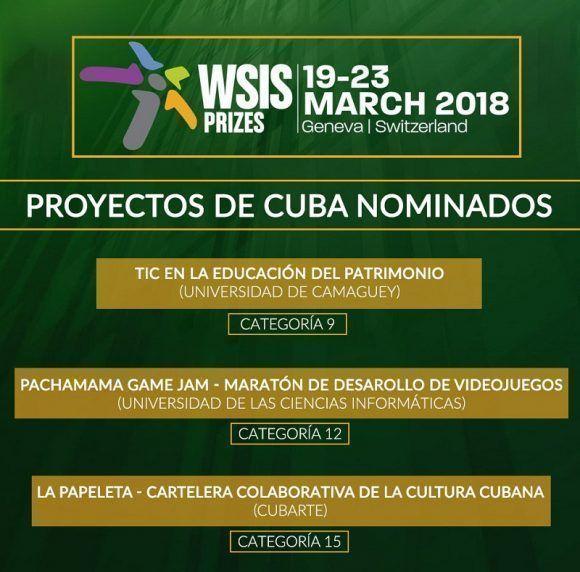 Tres proyectos cubanos resultaron nominados a la 7ma Edición de la WSIS 2018