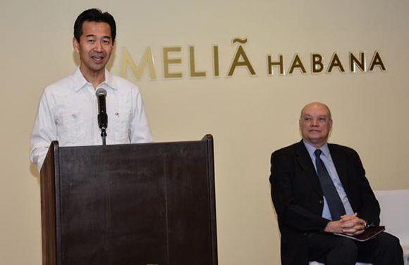 Intervención de Mitsurari Okamoto, Viceministro de Relaciones Exteriores de Japón, a su lado Rodrigo Malmierca Díaz, ministro de Comercio Exterior y la Inversión Extranjera. Foto: Marcelino Vázquez/ ACN.