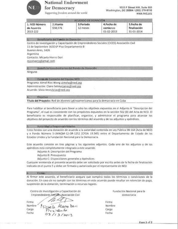 Ratificación por la NED de la asignación del presupuesto que se refleja en el documento anterior.