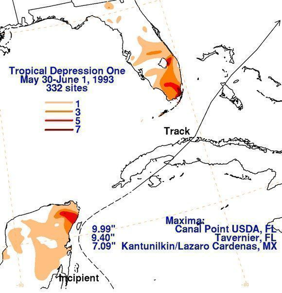 Trayectoria de la depresión tropical número 1 de 1993. Imagen: Weather Prediction Center/NOAA.