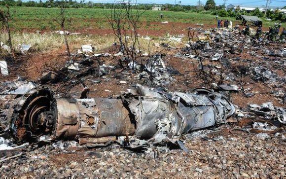 Restos del accidente de aviación