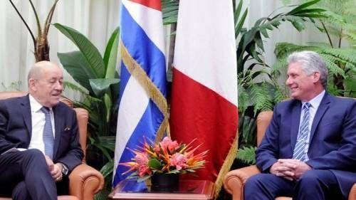 Presidente cubano recibió al Canciller de Francia