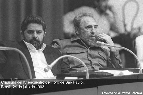 Fidel Castro junto a Luiz Inacio Lula Da Silva en la clausura del IV encuentro del Foro de Sao Paulo, La Habana, 24 de julio de 1993. Foto: Revista Bohemia / Sitio Fidel Soldado de las Ideas.