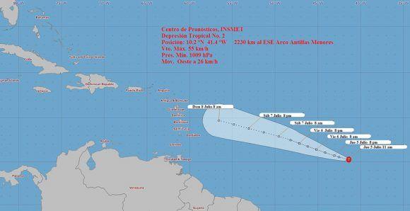 Se forma depresión tropical en el Atlántico; avanza hacia las Antillas Menores