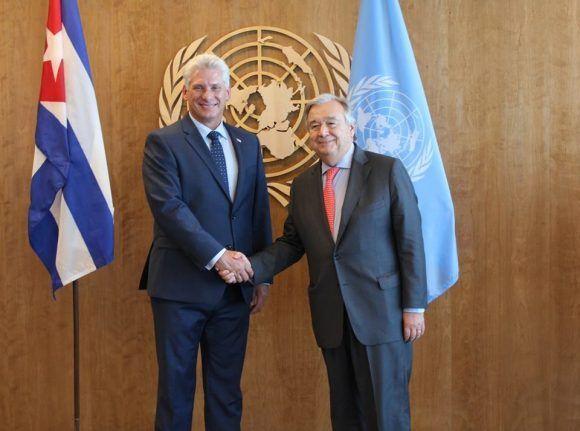 Diaz-Canel y António Guterres en la ONU. Foto: @DPRCubaOnu/ Twitter.