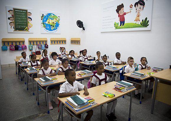 l'une des salles de classes de l'école Rafael Maria de Mendive
