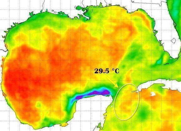 La temperatura de la superficie marina era cálida en la zona por donde se movió Michael del 7 al 8 de octubre. Imagen: NOAA/NESDIS