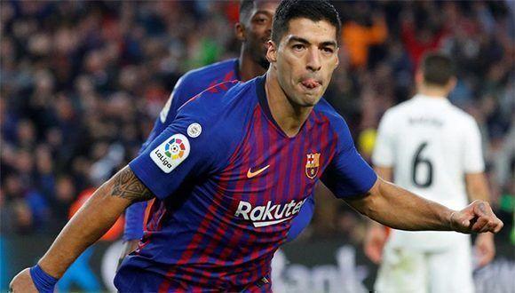 Luis Suárez terminó con hat trick luego de que en el minuto 89 Courtois le  negara el cuarto. Foto  Reuters 5ea56f49889f1