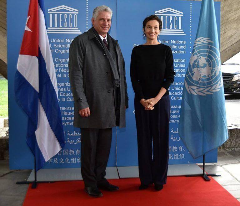 Díaz-Canel se reúne con Directora General de la UNESCO (+ Fotos)