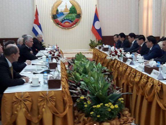 Díaz-Canel arribó a la República Democrática Popular Lao
