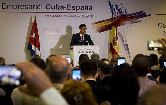 Pedro Sánchez: España seguirá impulsando los vínculos económicos con Cuba