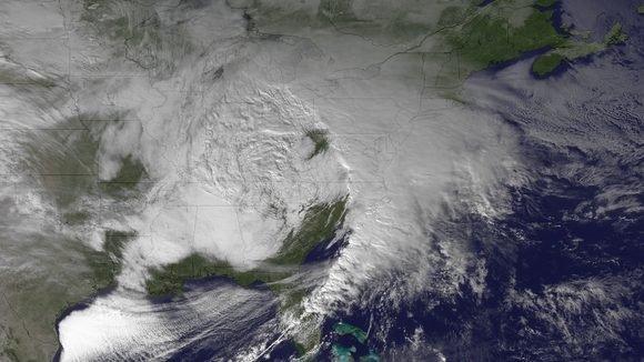 Sistema extratropical sobre los Estados Unidos el 26 de diciembre del 2012. Crédito: NOAA Environmental Visualization Laboratory.