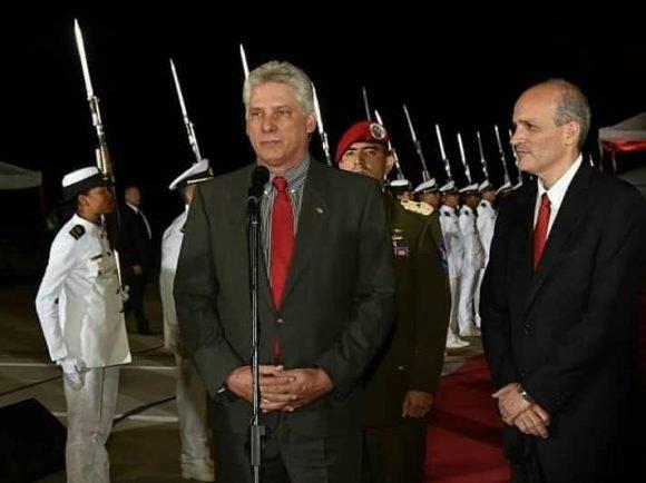 Diaz Canel habla a su llegada a Venezuela y ratifica solidaridad con ese puueblo y gobierno. Foto: Estudios Revolución