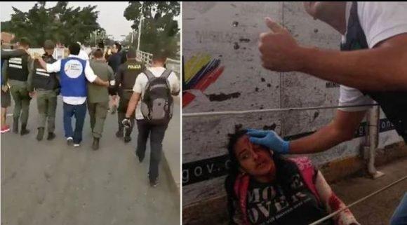Mientras que la derecha protege a los desertores una periodista chilena queda herida por estos soldados traidores. Foto: Con el Mazo Dando